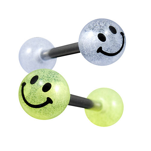 Zungenpiercing Hantel Logo Kugel Ball Smiley