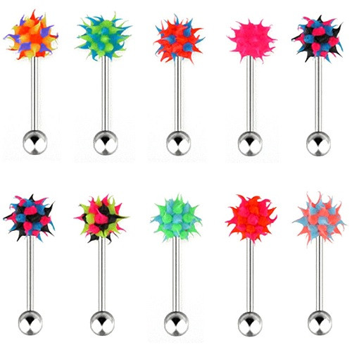 Zungenpiercing Neon Silikon Spike Ball