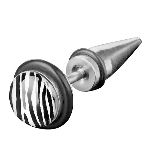 Fake Plug Taper Piercing Ohrstecker Zebra Look