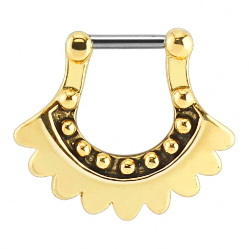 Piercing Septum Clicker Ring Nasenpiercing Gold plattiert Antik Fecher