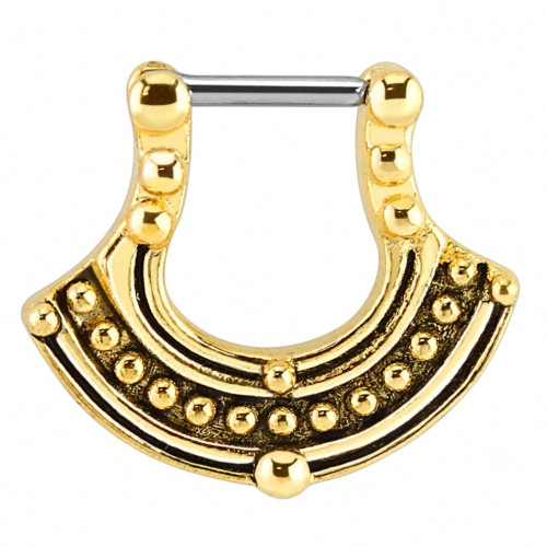 Piercing Septum Clicker Ring Nasenpiercing Gold plattiert Aztec Style
