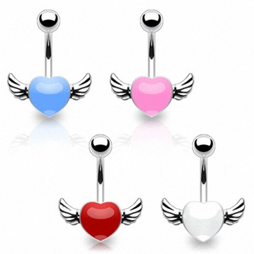 Bauchnabelpiercing Stecker Flying Heart Epoxy Engel Herz