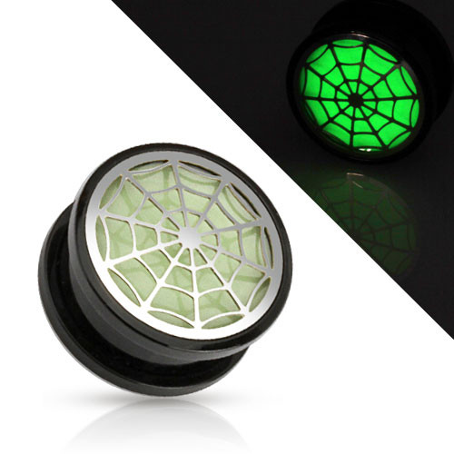 Flesh Ohr Motiv Plug Spinnennetz Glow in the Dark