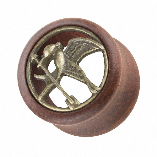 Ohr Tunnel Double Flared aus Holz mit Tribute von Panem Vogel Inlay