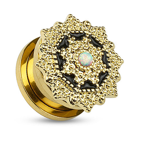 Flesh Ohr Plug Vintage Tribal Blume Gold IP mit Opal