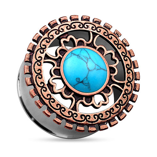 Ohr Tunnel Plug Antik Bronze IP Tribal Ornament Opal Türkis
