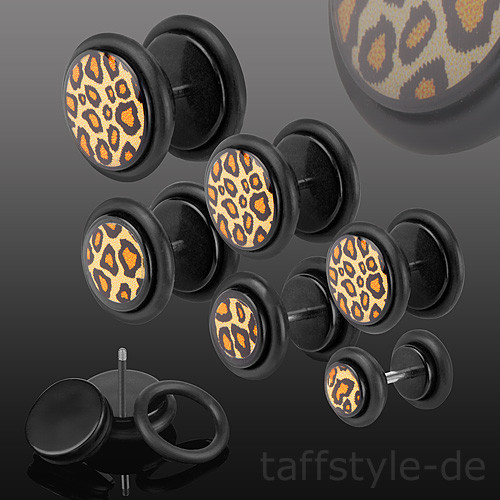 Fake Plug Ohrstecker Leoparden Look