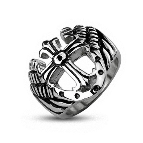Herren Edelstahl Gothic Royal Cross Tempelritter Ring