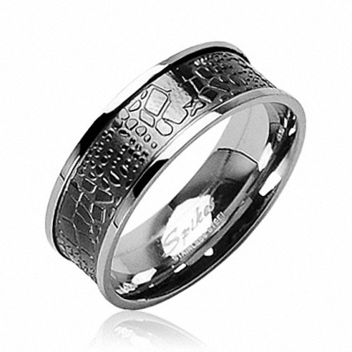 Edelstahl Band Ring Krokodil Haut Skin Design Inlay