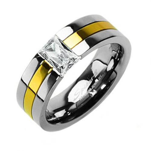 Titan Wedding Band Ring Gold plattiert mit Zirkonia Kristall