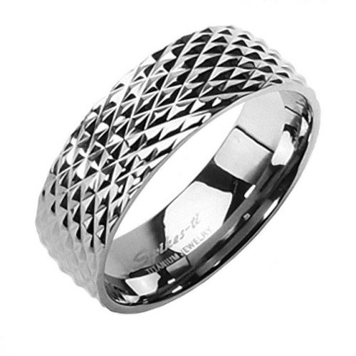 Titan Band Ring Schlangen Haut Design