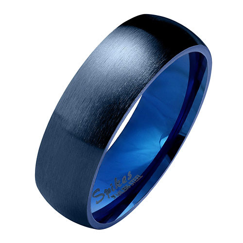 Herren & Damen Ring Partnerring Edelstahl Blau Matt