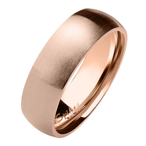 Herren & Damen Ring Partnerring Edelstahl Roségold IP Matt
