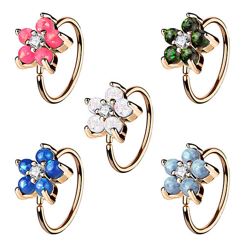 Nasenpiercing Ohr Universal Tragus Ring Rosegold IP mit Opal Blume