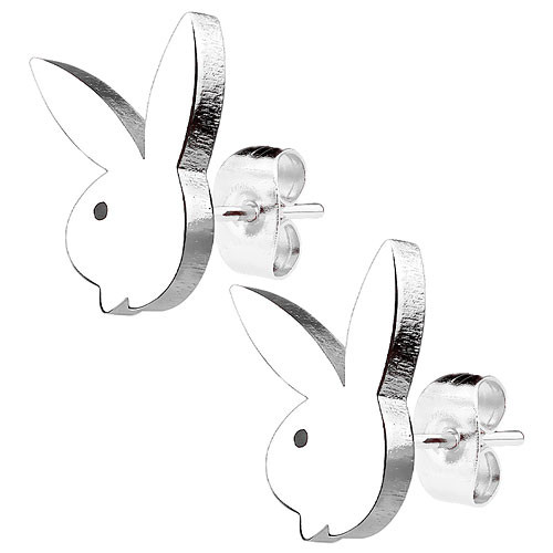 Ohrstecker Ohrringe Playboy Hase silbern