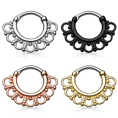 Septum Piercing Clicker Nasenpiercing Ring Vintage Tribal Fächer