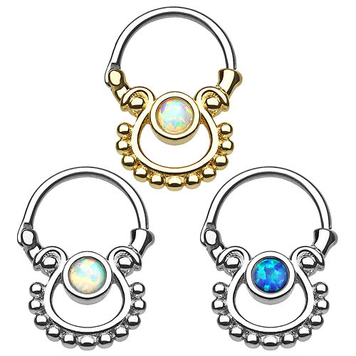 Septum Piercing Doppel Tribal Ring Clicker mit Opal