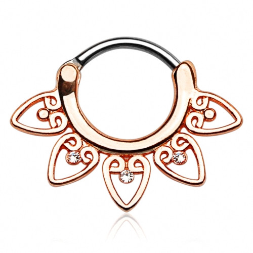 Septum Piercing Clicker Tribal Fächer Roségold IP