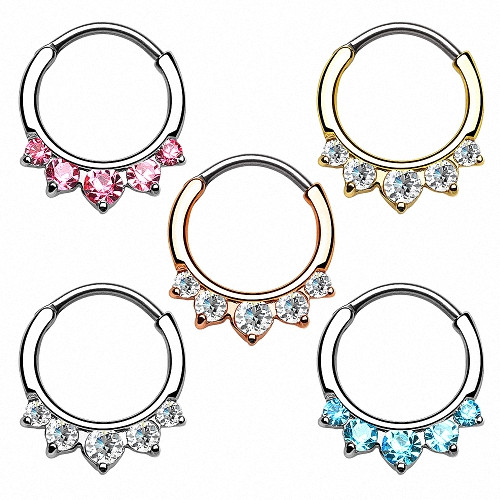 Septum Piercing Ring Clicker Strass Kristall Spitzen
