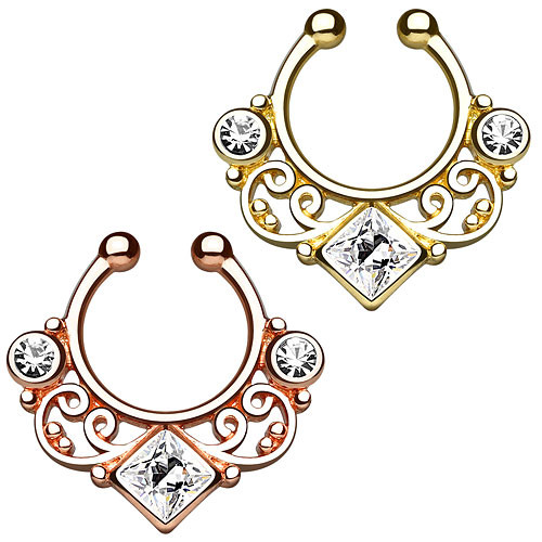 Septum Fake Piercing Tribal vergoldet mit CZ Kristallen