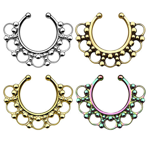 Fake Septum Piercing Ring Nasenpiercing Perlen Tribal
