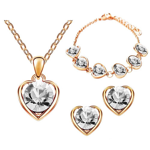 Schmuck-Set 3-teilig Roségold IP mit Swarovski Elements in Herz Form Clear