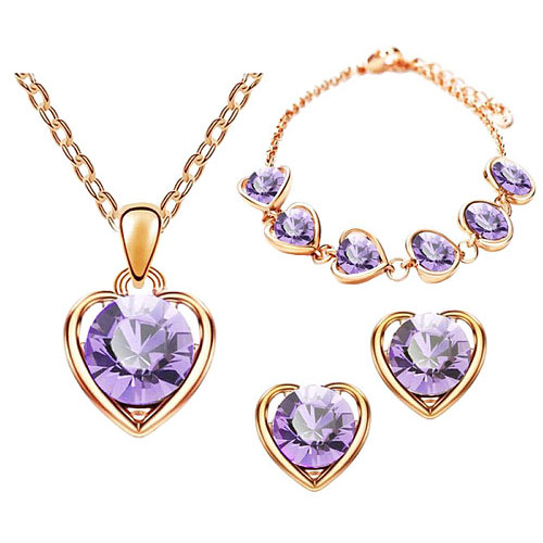 Schmuck-Set 3-teilig Roségold IP mit Swarovski Elements in Herz Form Lila