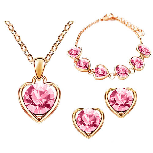 Schmuck-Set 3-teilig Roségold IP mit Swarovski Elements in Herz Form Pink