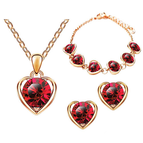 Schmuck-Set 3-teilig Roségold IP mit Swarovski Elements in Herz Form Rot
