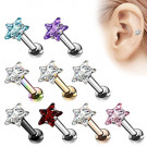 Tragus Ohr Knorpel Cartilage Helix Piercing Stecker Kristall Stern