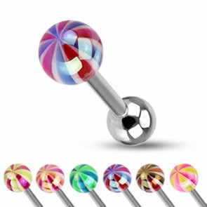 Zungenpiercing Hantel Metallic Candy Ball