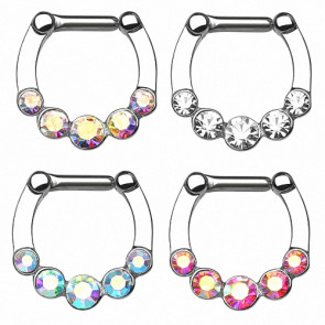 Nasenpiercing Ring Septum Clicker Schild 5 CZ Kristalle
