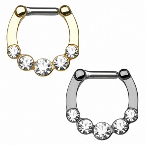 Nasenpiercing Septum Clicker Ring Schild 5 Kristalle