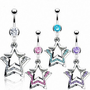 Bauchnabelpiercing Stecker Multi Kristall Triple Star
