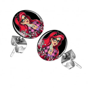 Ohrstecker Ohrringe mit Motiv Rockabilly Tattoo Girl