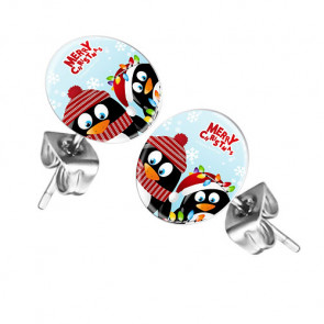 Ohrstecker Ohrringe mit Motiv Merry Christmas Penguine