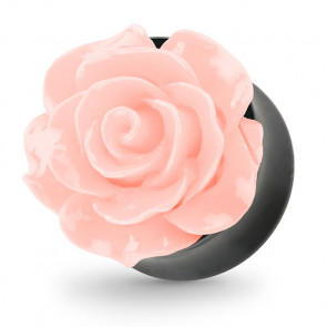 Ohr Tunnel Plug mit wunderschöner Rose Rosa in 3D Optik