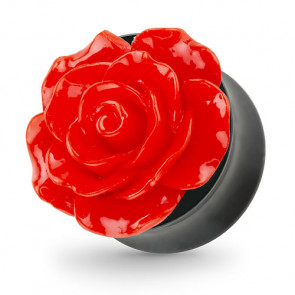 Ohr Tunnel Plug mit wunderschöner Rose Rot in 3D Optik