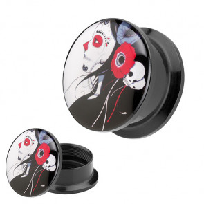 Picture Ohr Plug Motiv Rockabilly Dead Girl & Flower