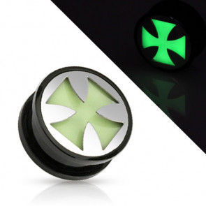 Flesh Ohr Motiv Plug Eisernes Kreuz Glow in the Dark