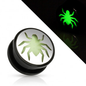 Flesh Ohr Motiv Plug Spinne Spider Glow in the Dark