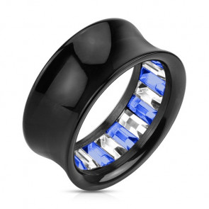 Flesh Tunnel Princess Cut Kristall Inlay Blau