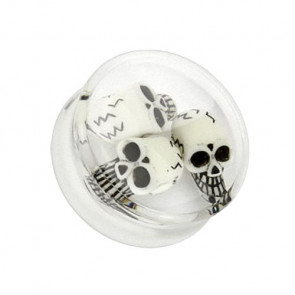 Ohr Plug Clear Totenkopf Triple Inlay