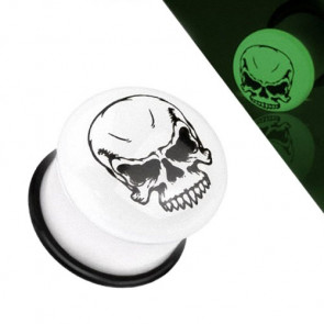 Flesh Tunnel Totenkopf Single Flared Weiß Glow in the Dark