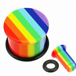 Flesh Plug Single Flared Regenbogen Rainbow