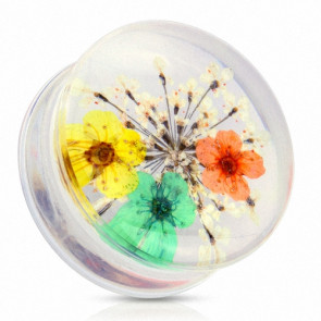Flesh Plug Double Flared Sommer Blumen Gelb