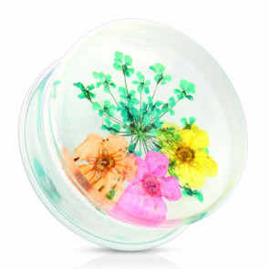 Flesh Plug Double Flared Sommer Blumen Grün