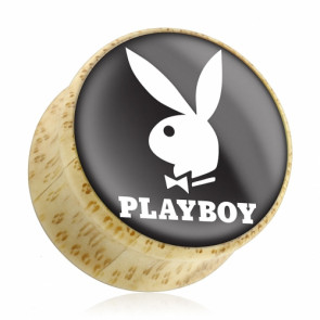 Flesh Holz Ohr Plug Double Flared Playboy Bunny Weiß