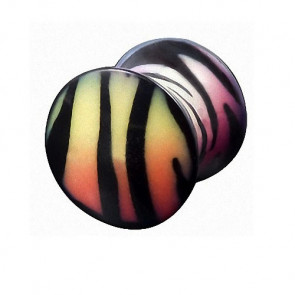 Flesh Plug Double Flared Rainbow Zebra Style