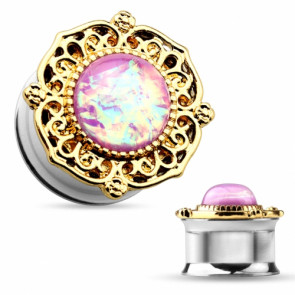 Flesh Ohr Plug Tunnel Tribal vergoldet mit Opal Pink
